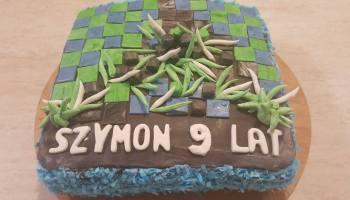 """Tematyczny tort urodzinowy """"Minecraft"""""""