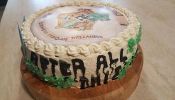 Tort w tematyce Harrego Pottera, w środku barwy jednego z domów Hogwartu